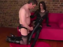Sissyfied sub spunks on FEMDOM dom boots too early