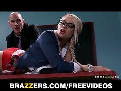 Kinky light-haired schoolgirl is spanked and banged by her prof