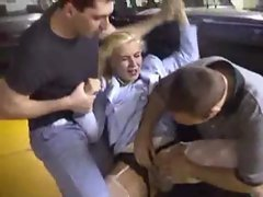 french forced having sex in parking ( tempting blonde gang )