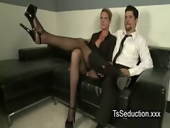Transsexual and chap stroking to each other