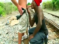 Amateur black gay accepts white prick outdoors
