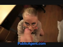 PublicAgent Blond in glasses gets banged on my office desk
