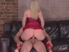 Lewd light-haired FEMDOM Mommy bouncing on prick and polishing it off