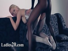 Lewd lezzs in pantyhose again in play