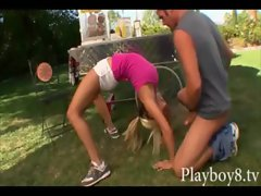 Kinky mega big melons blond cutie flexible sexy fanny banging at the park