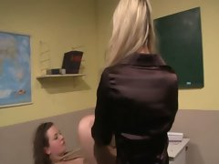 LEZDOM teacher using toy on sub misbehaving schoolgirl