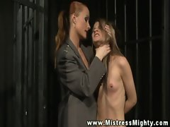 Caged LEZDOM sub mistreated by harsh domina