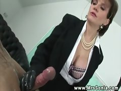 Dominant Lady Sonia wanking off sub