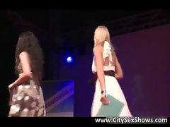 Two cool blondie cute chicks play with each