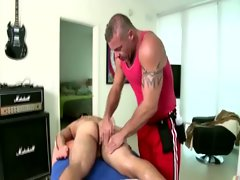 Filthy masseur strokes off straight client