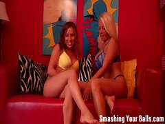 Ballbusting from two attractive housewifes