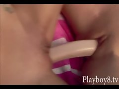 Two buxom housewives banging each other with double sided toy
