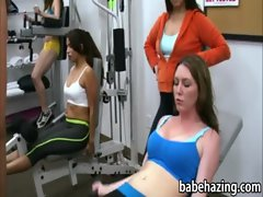 Ladies working out at the gym and lead to a filthy oral orgy