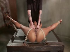 Tied up slutty ebony sub obeys her master during their bdsm session