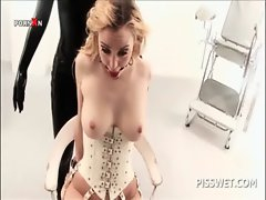 BDSM episode with tempting blonde sex slave pussy tortured for piss