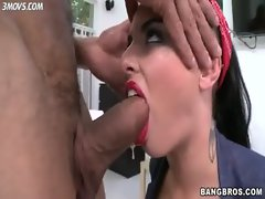 Christy Mack deepthroats enormous dick with a great deal spit