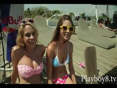 Huge titted blondie and dark haired playmates tries out wakeboarding