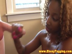 Pierced slutty ebony hussy wanks off white man