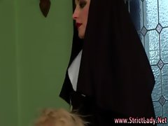 Alluring loser humiliated by nun dominas