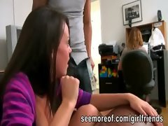 Gorgeous knockers and naughty bum gf sneaks and gets banged beside her roommate