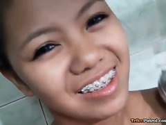 Lean tight-bodied Filipina raunchy teen with stunning braces screwed brutal