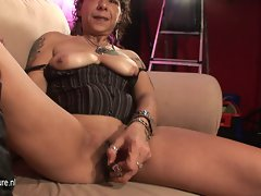 Aged brutal slutty mom masturbate on casting couch