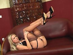 Cool Renata Exposes Her Nylon Covered Legs