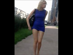 Sharking luscious tempting blonde miniskirt attractive panties and legs