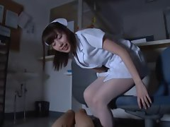 Sensual japanese nurse foot teasing and riding