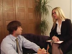 Splendid Office Mistress has sex with her slave