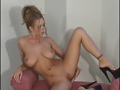 Big titted tempting blonde striptease