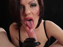 Attractive Euro Chick Smoking BJ and HJ in Leather Gloves