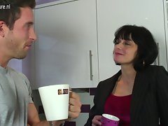 Filthy English slutty mom gets a fuck in her kitchen