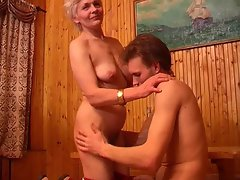Slim mum with flabby saggy little tiny breasts & lad