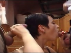 French cougar with enormous tits and two man