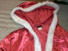 Red & White Faux Fur Satin Santa Robe