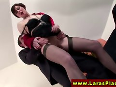 European Filthy bitch in stockings gets banged
