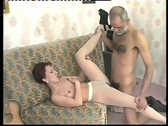 Whorish filthy bitch in pantyhose juices an elder mans penis