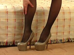 Sensual Pantyhose And High Heels On This Sizzling teen