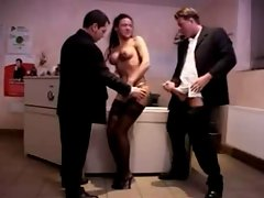 Luscious german Mommy crazy threesome action in the office