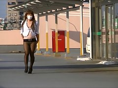Seductive japanese Crossdresser Pantyhose Public Exhibitionism Upskirt