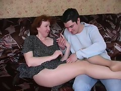 Seductive russian solid mamma in pantyhose and her boy! Amateur!