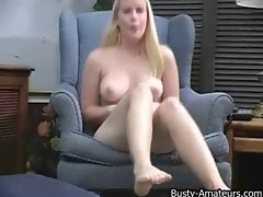 Lacie strips and masturbating her slit on the couch