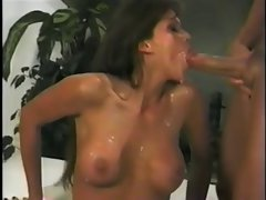 Cockhungry slutty girl gets cum all over her body!