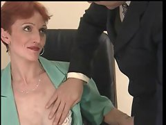 Thin, Short Haired Redhead Fucked In The Office