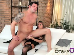 StrapOn Tattooed lad is pegged by his sexual gf