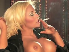 Filthy Luscious Big titted Blond Solo Smoking and Teasing