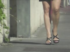 Attractive bank employee candid high heels street voyeur 974