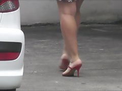 Top heavy dark haired red high heels sandals candid voyeur 974