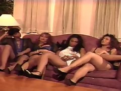 90's Naughty ebony Lez Orgy